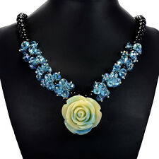 Vintage Blue Rose & Aqua Mystic Crystal Pendant Necklace Tantric Tokyo Jewellery