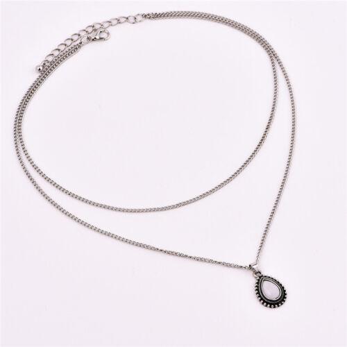 2 Layer Women Boho Silver Chain Dripping Stones Pendants Choker Necklace Jewelry