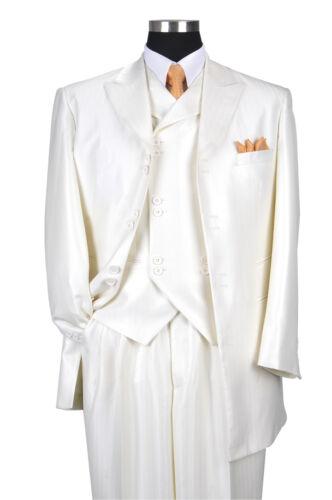 "Men/'s 3 Piece Luxurious Wool Feel Herring Bone Stripe 35/""  Jacket  Cream 5264V"