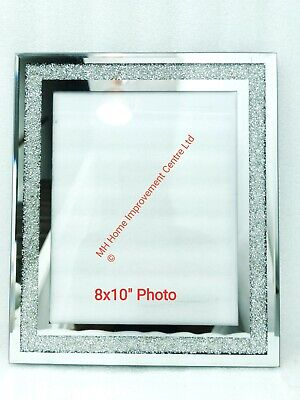 Diamond Crush Large Sparkly Silver Mirrored Photo Frame 8x10 Inch Picture Ebay