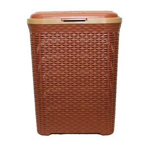 50L-Large-Rattan-Plastic-Laundry-Bin-Washing-Multi-Storage-Basket-Box-BROWN