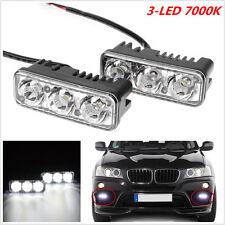 2Pcs High Power 9W White 7000K 3-LED Car SUV DRL Daytime Running Light Fog Lamp