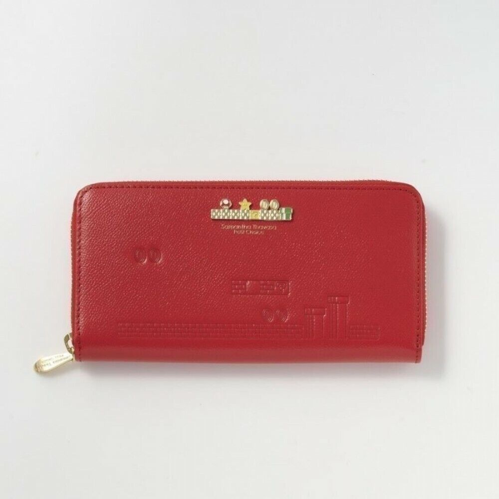 [Red] Super Mario x Samantha Thavasa Round Zip Purse Wallet Japan Limited