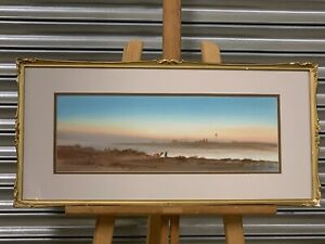 Beautiful-Antique-Watercolour-Of-A-Desert-Scene-At-Sunset-By-Herbert-Tomlinson