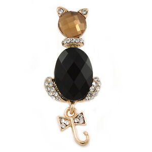 Gold Plated Jewelled Cat With Dangling Tail Brooch - 50mm L