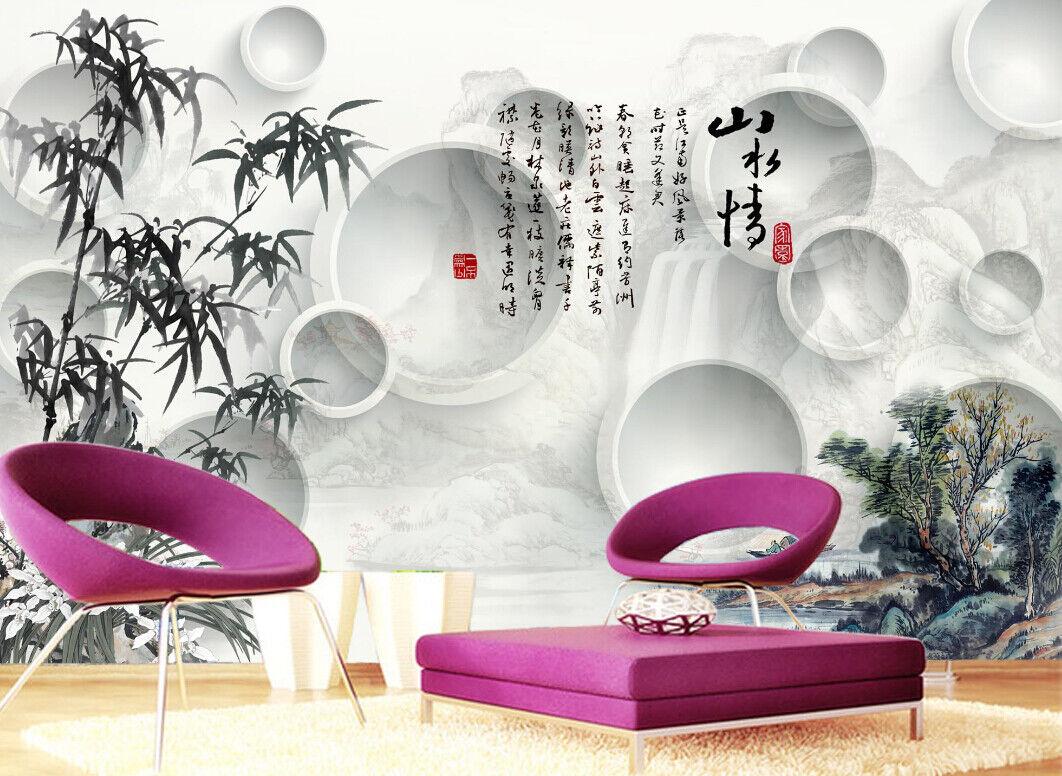 3D Bambus Lässt Ring 66 Tapete Tapeten Mauer Foto Familie Tapete Wandgemälde DE