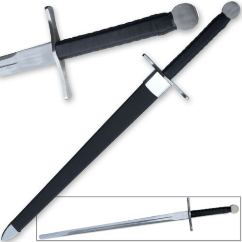 Knightly Medieval Crossguard Longsword 45.5in Sword w Wrapped Wooden Scabbard