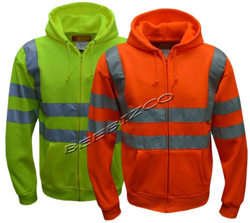 Hi Viz Vis Visibilité Capuche Réfléchissant Travail Zip Fleece Sweatshirt Veste S-5XL