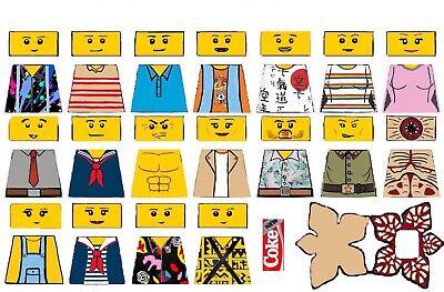 Custom Stranger Things S1 Minifigure Decal Sticker Sheet Skin Tone in Matte