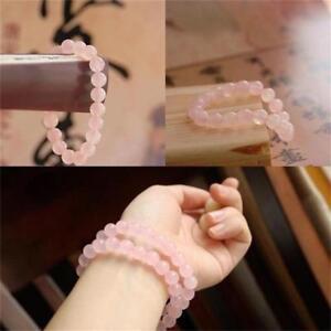 AAA-naturel-rond-rose-Quartz-Jade-pierres-precieuses-extensible-bracelet-cadeau