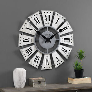Rustic Farmhouse Windmill Style Wall Clock Large Display Distressed White/Gray
