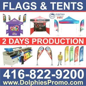 Double Sided Advertising Teardrop & Feather Flags + Custom Printed Pop Up Tent Gazebo Heavy Duty, Commercial Grade Tents Canada Preview