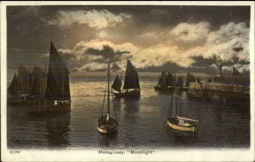 Mevagissey UK Lighthouse Harbor c1910 Postcard