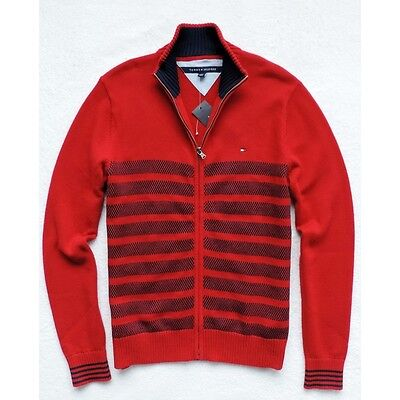 NWT Tommy Hilfiger Men's Red Striped Sweater Cardigan Size: M