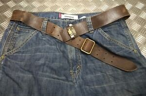 Details about Genuine Vintage Military Issued Leather Trouser belt & Brass  Double Prong Buckle