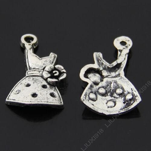20pc Tibetan Silver Girl Dress Flower Pendant Charms Beads Jewellery Craft B521P