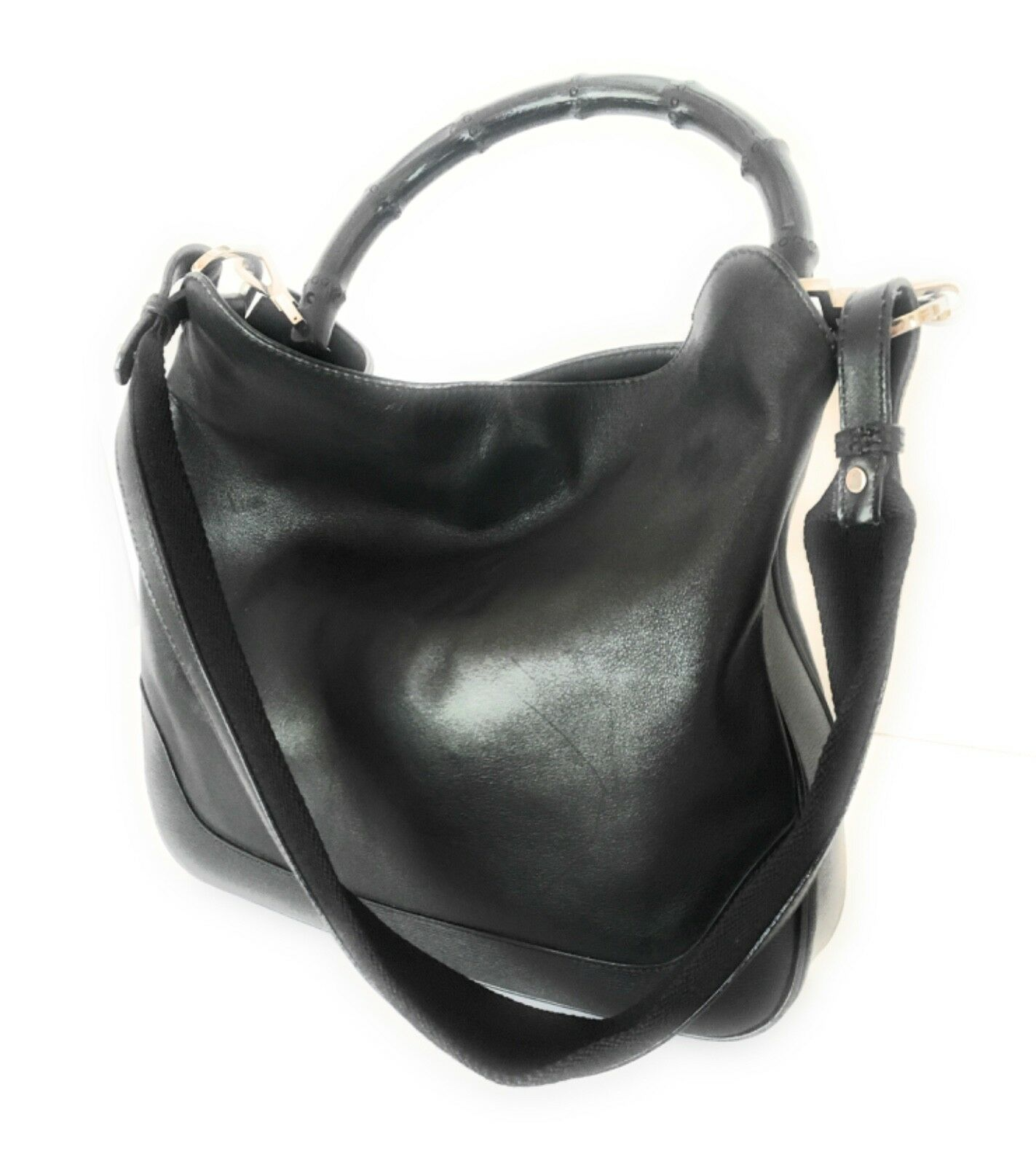 AUTHENTIC GUCCI LEATHER & BAMBOO BLACK PRINCESS D… - image 1