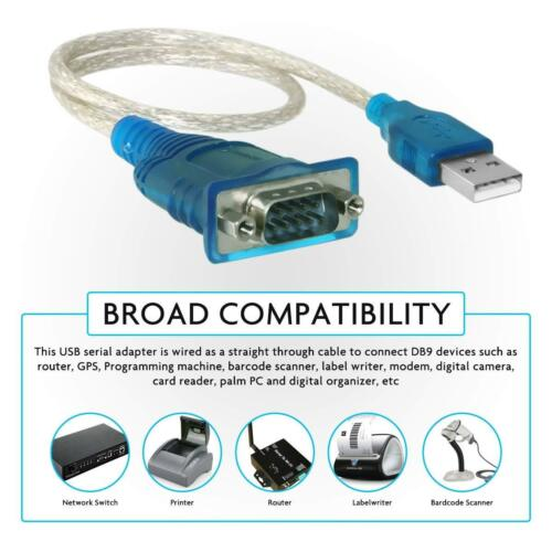 USB to Serial RS232 DB9 Male Port Adapter Cable 9 Pin Converter for Laptop PC