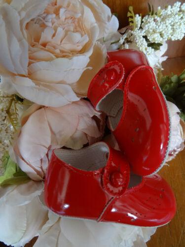Baby Girls Red Patent pour Bébé Chaussures Baptême Taille 0-1-2//0-3-6-12m