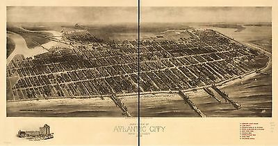 1904 HUGHES /& BAILEY COPY POSTER MAP BIRD/'S EYE VIEW OF LARCHMONT NEW YORK