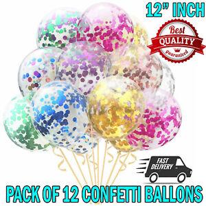 Lot-de-12-confettis-ballons-latex-12-034-Decorations-Air-Helium-Fete-D-039-Anniversaire-maries