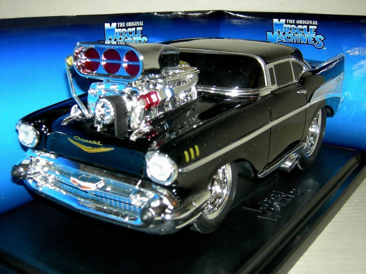 57 Chevy Bel-Air en negro Brillante. 2001 Musc. Mac. MIB. escala 1 18