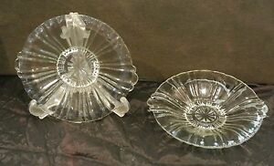 Set-Of-Two-Pretty-Vintage-Clear-Glass-Footed-Bowls-Plates-With-Handles-Display