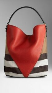 Image is loading NWOT-Burberry-Red-Chevron-Leather-Medium-Susanna-Bucket- 1fac56876ea83