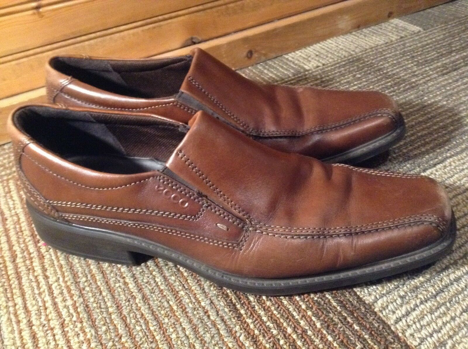 ECCO Men's Brown Leather Slip On shoes Size US 12- 12.5 Euro 46