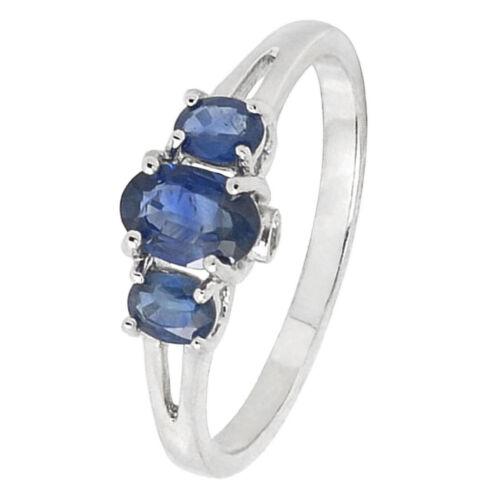 Size 7 De Buman Sterling Silver Three Sapphire /& White Topaz Ring
