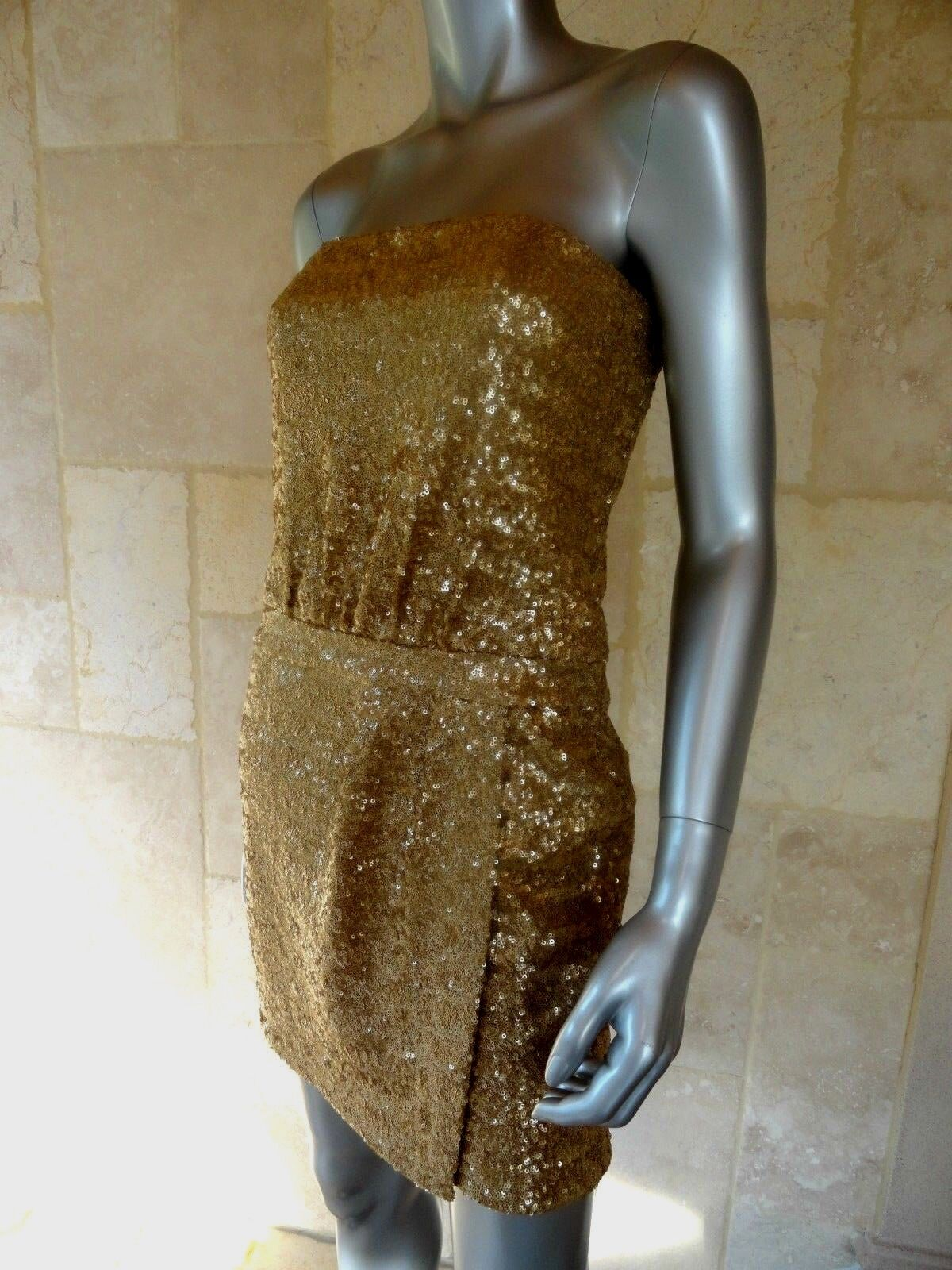 Laundry by Shelli Segal New Gold Sequined Mini Party Prom Dress Sz 6