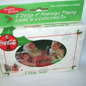 1999 Coca Cola Santa Claus Metal Tin box with Two Decks Playing Cards MIB