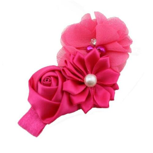 Newborn Kids Girl Lace Flower Headband Elastic Hair Band Kid Soft Headwear T3