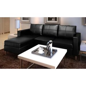 Black Faux Leather Corner Sofa 3 Seater Couch Chaise Lounge Modern ...