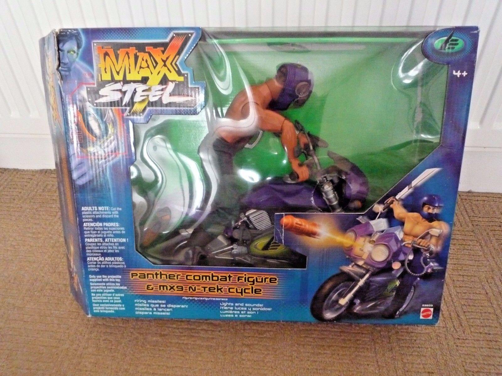 VINTAGE MAX STEEL PANTHER COMBAT FIGURE WITH MX9 N-TEK MOTORBIKE & ORIGINAL BOX