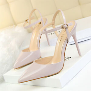 Women-039-s-Stiletto-High-Heels-Pointed-Toe-Dress-Ankle-Strap-Slip-on-Pumps-Shoes