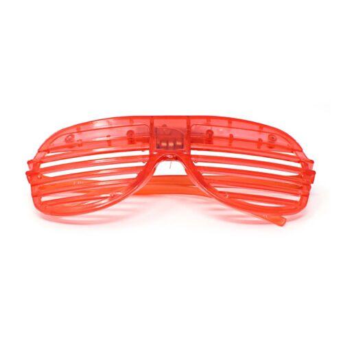 Rouge clignotant DEL Lunettes à obturateur Light Up Rave fendue Parti Glow nuances fun UK