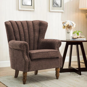 Coffee-High-Back-Wing-Chair-Linen-Fabric-Accent-Tub-Armchair-with-Firm-Wood-Legs