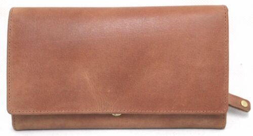 RFID Security Lined Quality Full Grain Leather Purse 22059 Hunter. Red Black