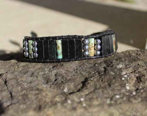 Men/'s Bracelet African Turquoise and Blackstone  Beaded Leather Wrap Bracelet