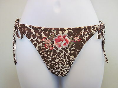 BNWT MONSOON ACCESSORIZE ANIMAL PRINT SIDE TIE BIKINI BOTTOMS BRIEFS SIZE 10 12