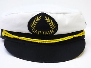 8a89c6eca094 Detalles de Informal Gorro de Capitán Blanco Sombrero Hombre Marinero Gorra  Parasol