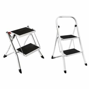 Details about 2 Step Ladder Stool Safety Anti Slip Rubber Mat Tread Steel  Folding Frame DIY
