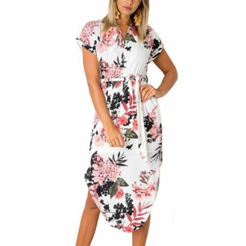 Women Summer Boho Beach Dress Midi Party Dresses V Neck Loose Batwing Sleeve