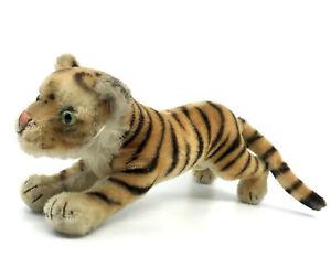 Steiff Tiger Cub Running Mohair Plush 17cm 7in no ID 1960s Glass Eyes Vintage