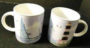 Thomson-Pottery-Lighthouse-Coffee-Cups-Mugs-Nautical-Set-of-2-Excellent