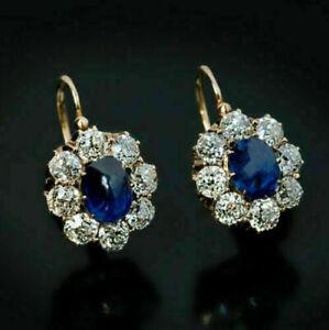 3Ct-Oval-Corte-Diamante-Azul-Zafiro-Huggie-Aro-Pendientes-De-Oro-Amarillo-14K-de-acabado