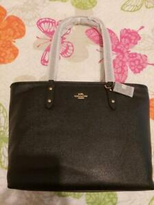 New-Authentic-Coach-Genuine-Leather-City-Zip-Tote-Handbag-Purse-Black