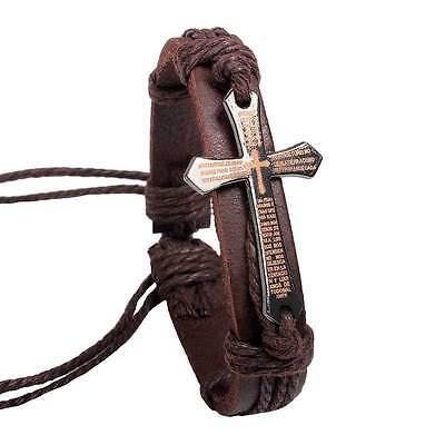 Jewelry Bracelet Hand-woven Leather Wristband Chain Bangle Cross Mens Gift 01533