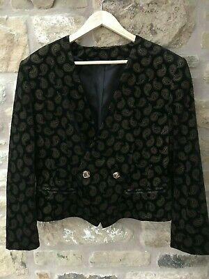 Ladies Vintage Austin Reed Options Short Velvet Jacket Paisley Pattern Size 16 Ebay